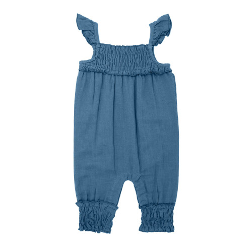 Organic Kids' Muslin Sleeveless Romper in Pacific, Flat