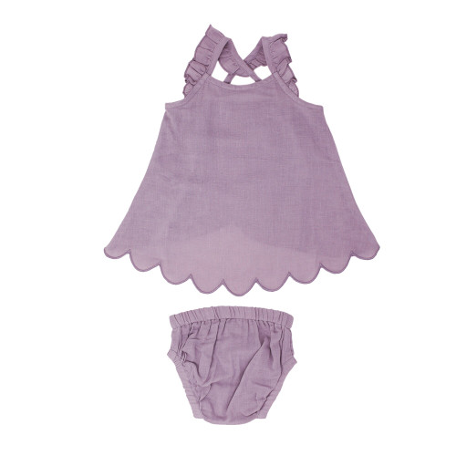 Organic Muslin Tunic Top & Bloomer Bottom Set in Amethyst, Flat