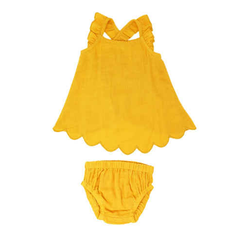 Organic Muslin Tunic Top & Bloomer Bottom Set in Saffron, Flat