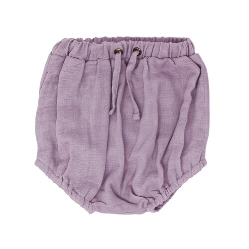 Organic Muslin Shorties in Amethyst, Flat