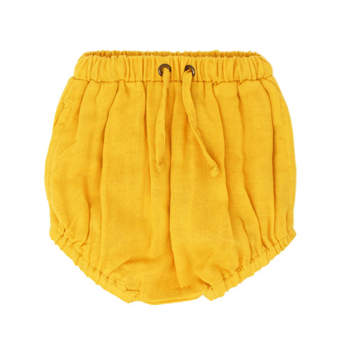 Organic Muslin Shorties in Saffron, Flat