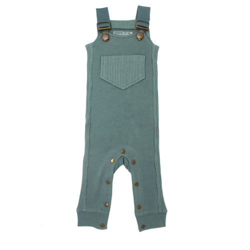Footless Ribbed Overall in Jade, Flat