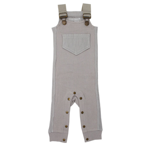 Footless Ribbed Overall in Light Gray, Flat