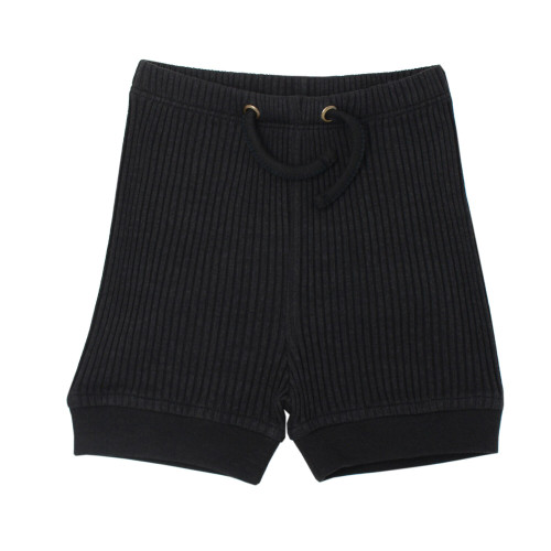 Kids' Ribbed Bike Shorts in Black, Flat