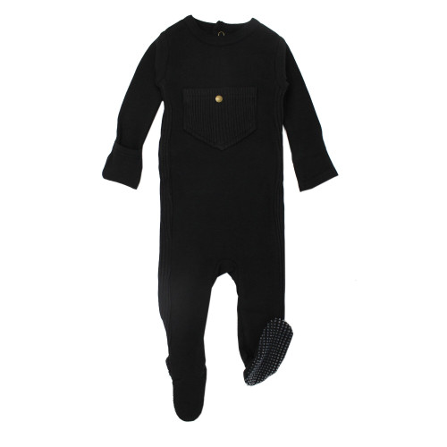 Ribbed Baby Footie in Black, Flat