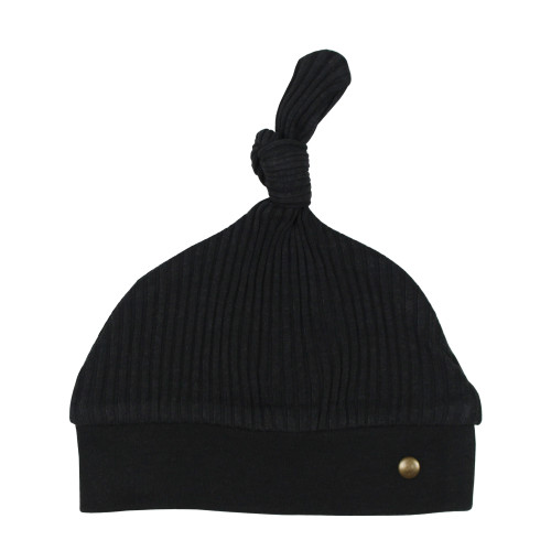 Ribbed Top-Knot Hat in Black