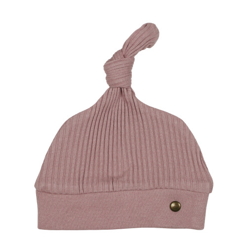 Ribbed Top-Knot Hat in Thistle