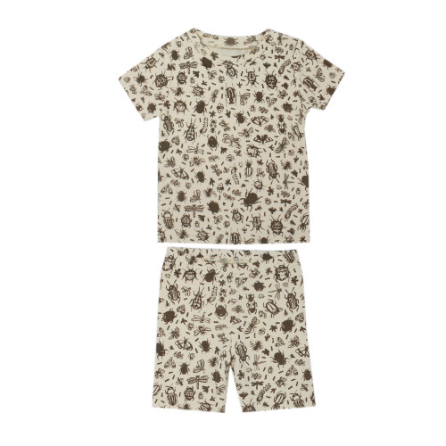 Kids' Printed S/Sleeve PJ Set in Don't Bug Me! (Beige), Flat