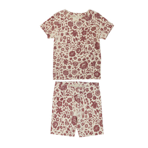 Kids' Printed S/Sleeve PJ Set in What In Carnation? (Beige), Flat