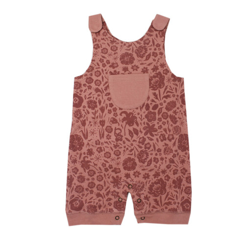 Printed Sleeveless Romper in What In Carnation? (Mauve), Flat