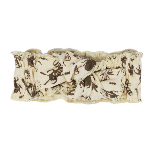Printed Smocked Headband in Don't Bug Me! (Beige), Flat