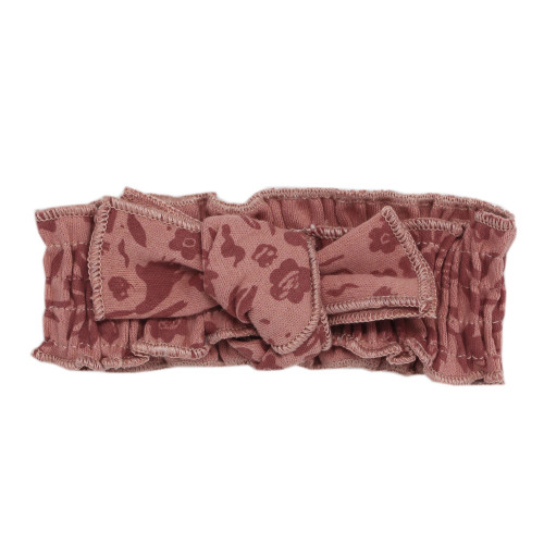 Printed Smocked Headband in What In Carnation? (Mauve), Flat