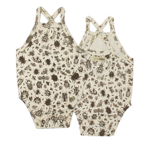 Kids' Printed Criss-Cross Bodysuit in Don't Bug Me! (Beige), Flat