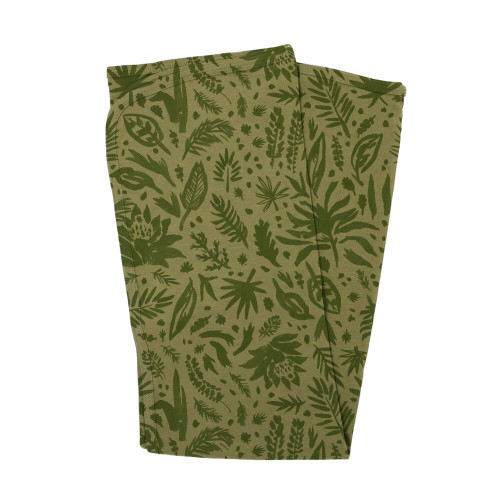 Organic Swaddling Blanket, Print in Get Clover It! (Sage), Flat