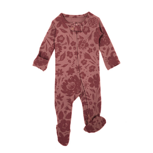 Organic Zipper Baby Footie, Print in What In Carnation? (Mauve), Flat