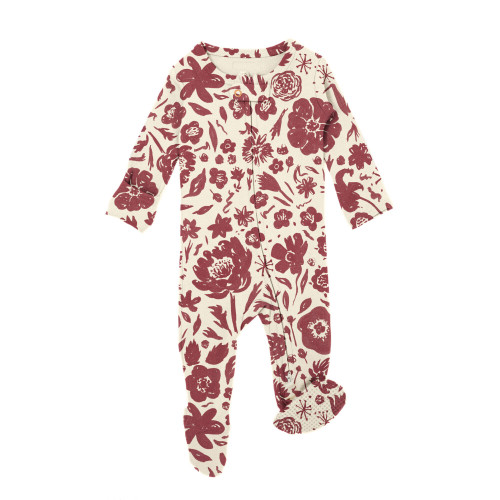 Organic Zipper Baby Footie, Print in What In Carnation? (Beige), Flat