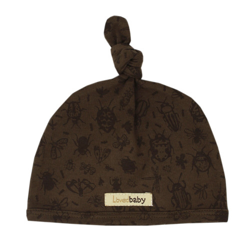 Printed Top-Knot Hat in Don't Bug Me! (Bark), Flat