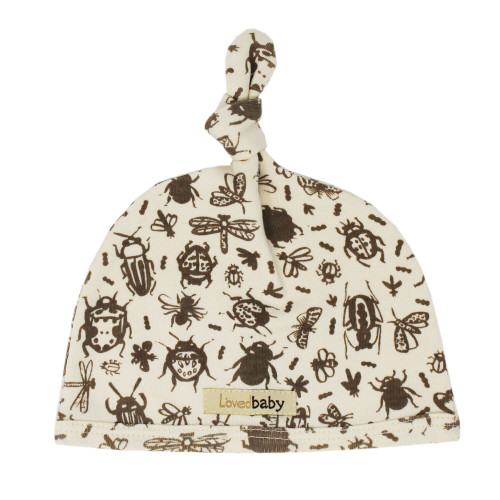 Printed Top-Knot Hat in Don't Bug Me! (Beige), Flat