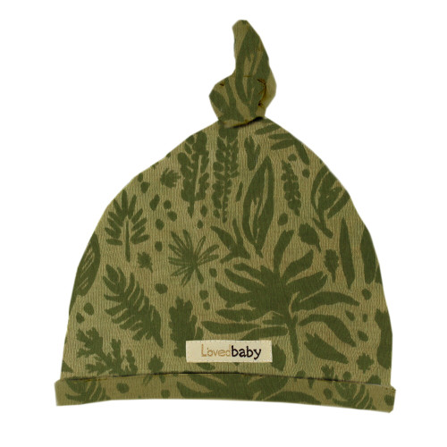 Printed Top-Knot Hat in Get Clover It! (Sage), Flat