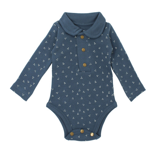 Organic Polo Bodysuit in Abyss Dots, Flat