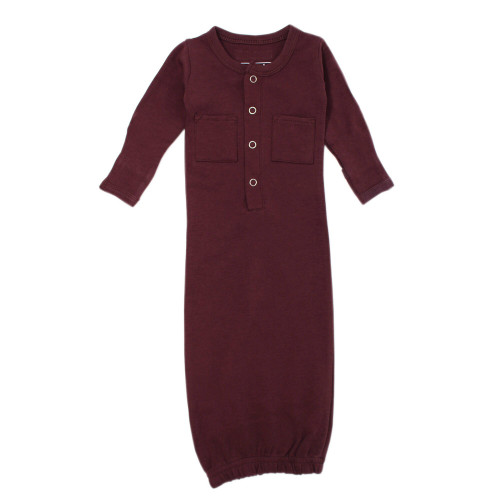 Organic Gown in Eggplant, Flat