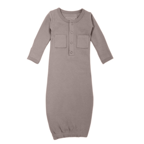 Organic Gown in Light Gray, Flat