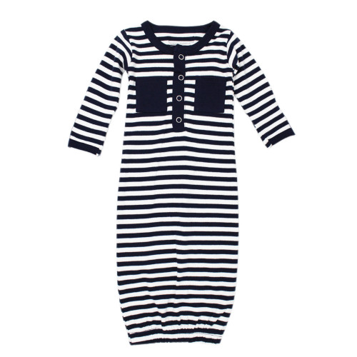 Organic Gown in Navy/White, Flat