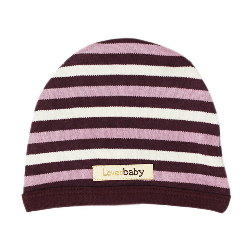 Organic Cute Cap in Eggplant Stripe, Flat