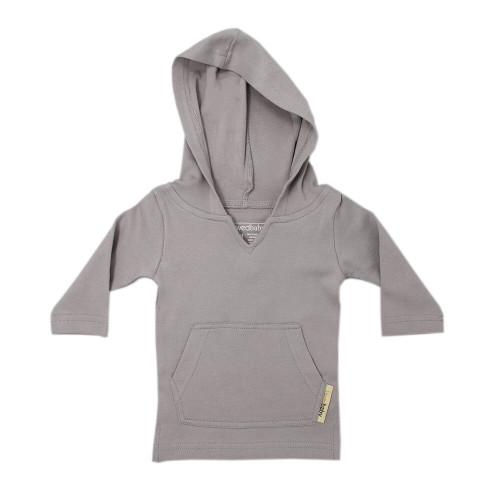 Organic Hoodie in Light Gray, Flat