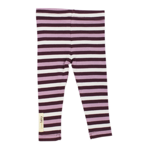Organic Leggings in Eggplant Stripe, Flat