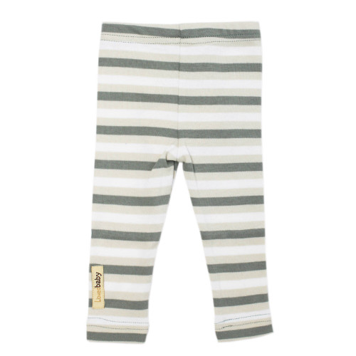 Organic Leggings in Seafoam Stripe, Flat