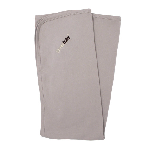Organic Swaddling Blanket in Light Gray, Flat