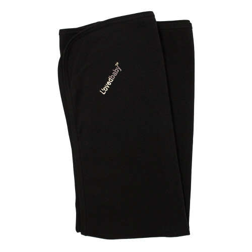 Organic Swaddling Blanket in Black, Flat