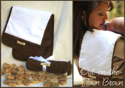 Burp Cloth Plush in Brown, Flat
