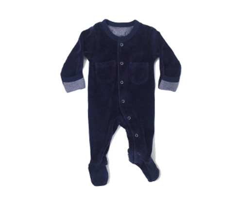 Organic Velour Footed Overall in Navy, Flat