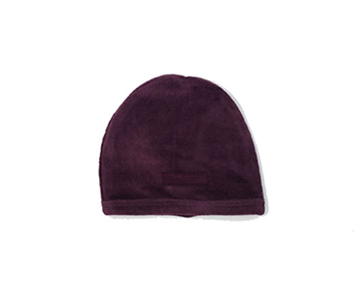 Organic Velour Cute Cap in Eggplant, Flat