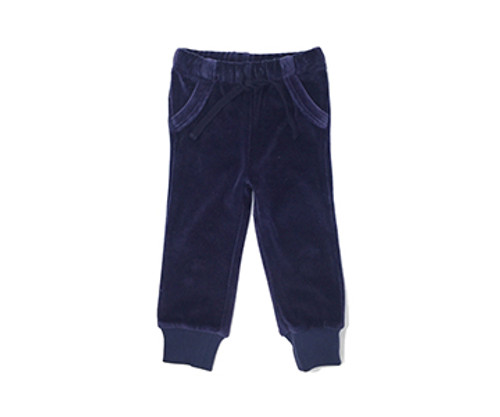 Organic Velour Joggers in Navy, Flat
