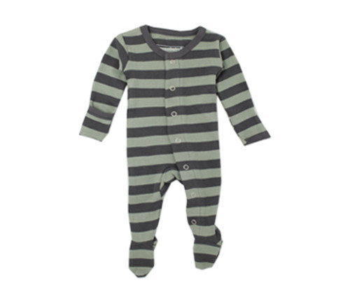 Organic Footed Overall in Gray/Seafoam Stripe, Flat