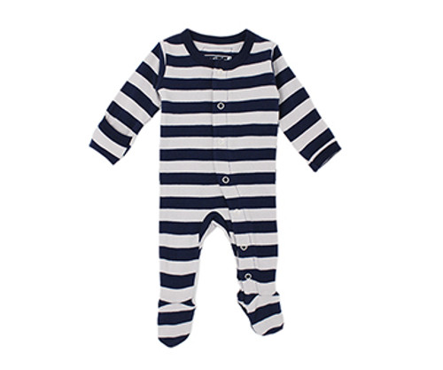 Organic Footed Overall in Navy/Light Gray Stripe, Flat