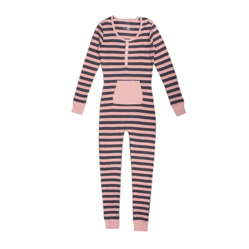 Organic Women's Onesie in Mauve/Gray Stripe