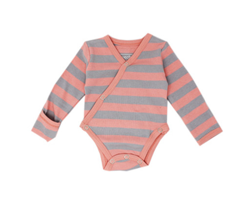 Organic Kimono Bodysuit in Coral/Light Gray Stripe, Flat