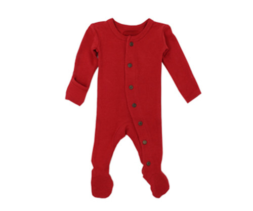 Organic Thermal Footed Overall in Ruby, Flat