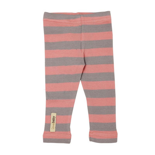 Organic Leggings in Coral/Light Gray Stripe, Flat