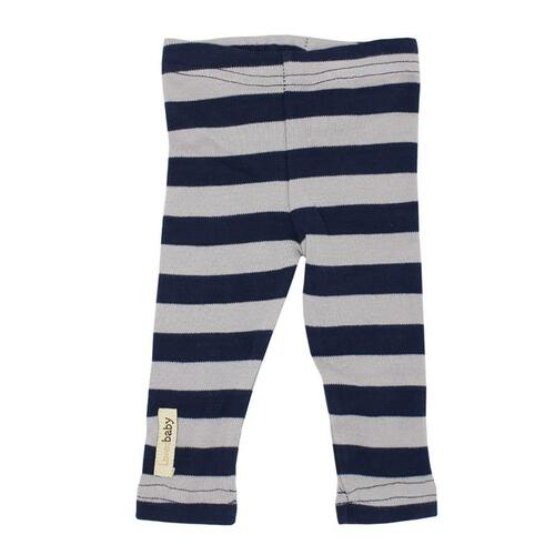Organic Leggings in Navy/Light Gray Stripe, Flat