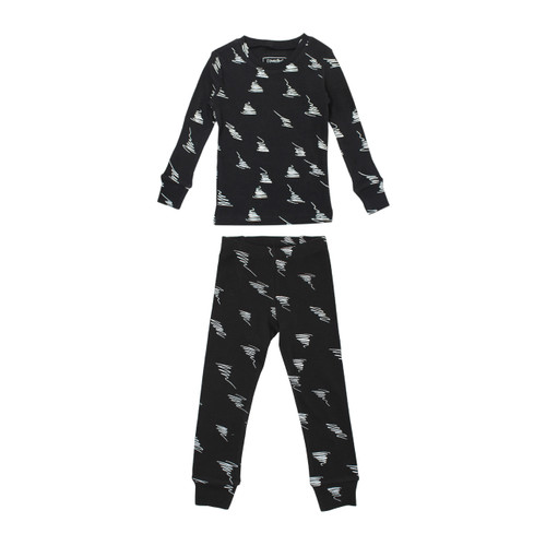Organic Kids' L/Sleeve PJ Set in Scribbles, Flat