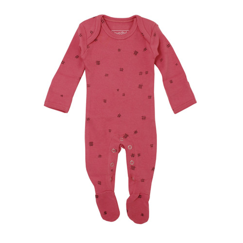 Organic Lap-Shoulder Footed Overall in Berry Hatch, Flat