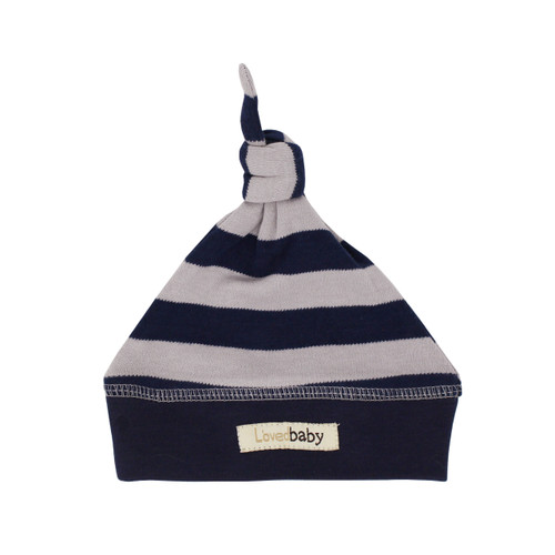 Organic Banded Top-Knot Hat in Navy/Light Gray Stripe, Flat