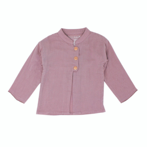 Organic Muslin Three-Quarter Sleeve Jacket in Lavender, Flat