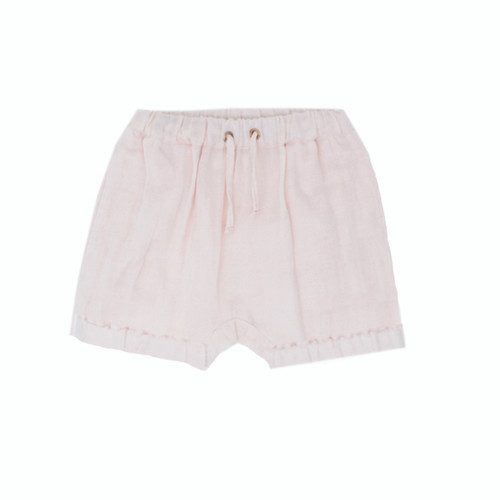 Organic Muslin Shorties in Blush, Flat