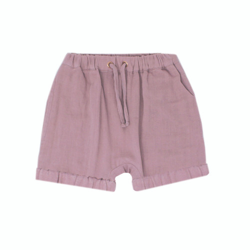 Organic Muslin Shorties in Lavender, Flat